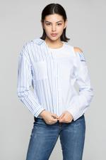 OwnTheLooks Blue & White Asymmetrical Striped Shirt (860B)