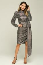 OwnTheLooks Silver Glitter Cinched & Side Bow Dress (081C)