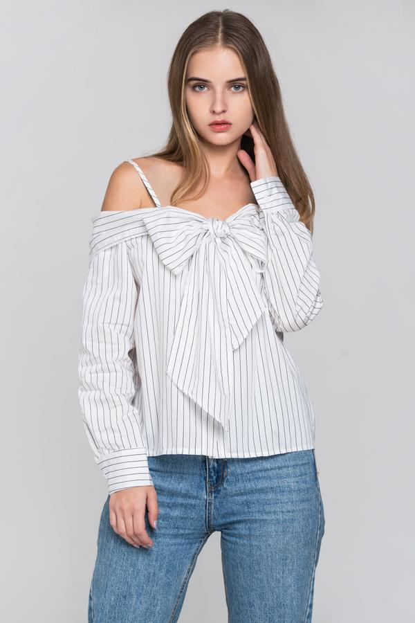 b70106ca509 OwnTheLooks White Pin Stripes Cold Shoulder Tie Bandeau Top