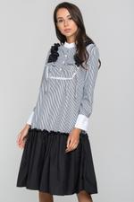 OwnTheLooks Grey Stripe Flounced Panel Skirt Dress (385B)