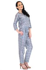 OwnTheLooks Asma Chapati Blue Flower Print Top & Pants Set (3)