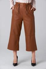 OwnTheLooks Brown Faux Leather Drawstring Pants (065B)