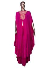 Arpita Mehta Pink Embroidered & Ruffled Front Slit Kaftan & Palazzo Set (AMV19AMF3864) by Vesimi