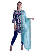 Agha Noor Blue Embroidered Kurta Set  (ANSS'19-01)