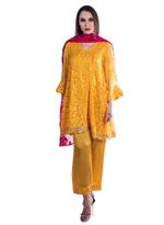 Agha Noor Yellow & Pink Embroidered Kurta Set (ANSS'19-15)