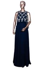 Aneesh Agarwaal Blue Embroidered Gown (AVS109) by Vesimi