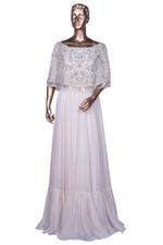 Aneesh Agarwaal Ivory Embroidered Cape Gown (AVS-111) by Vesimi