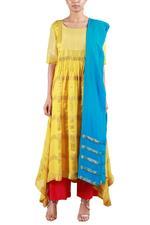 Latha Puttanna Yellow & Blue Kurta with Pants & Dupatta