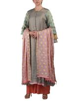 Latha Puttanna Grey & Pink Kurta with Palazzo & Dupatta
