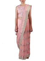 Latha Puttanna Pink Woven Saree with Stitched Blouse