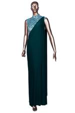 Diya Rajvvir Green Pre-Stitched Saree with Embellished Blouse (DRW19VSI 13) by Vesimi