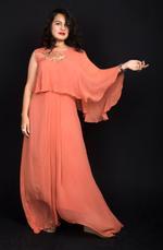 Plush Culture Orange Drape Gown with handwork embellishment on shoulder (FE_01)