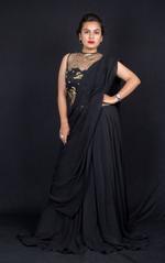Plush Culture Black Drape Saree (FE_25)