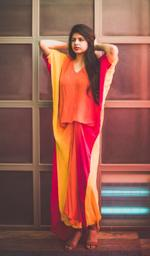 Plush Culture Orange red shaded drape kaftan gown  (GN_10)