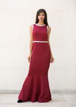 Plush Culture Maroon scuba gown with crystal and zardosi handwork embellishment (GN_15)