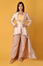 Plush Culture Gaji silk Beige blazer dress with pants (GN_19)