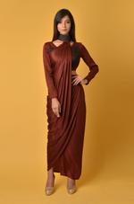 Plush Culture Maroon crop top with skirt and neck drape  (GN_20)