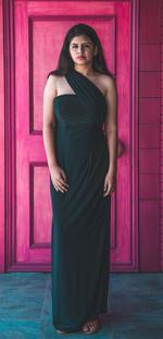 Plush Culture Black off shoulder gown with cross shoulder drape and side slit (GN_8)