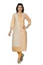 Suumaya Orange & White Striped Cotton Linen Kurta (KJ-002)