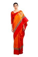Latha Puttanna Orange & Red Saree with Stitched Blouse (LP-Sb-27)