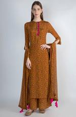 Masaba Brown Printed Kurta Set by Vesimi (MAW19216)