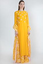 Masaba Yellow Embroidered Printed Kurta Palazzo Set by Vesimi (MAW19219-XS)
