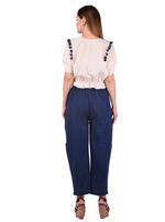 Mesmora Off-White Tassel Top & Navy Blue Pants Set (#MF1144Blue)