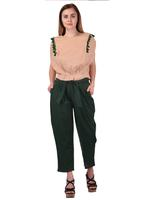 Mesmora Pink Tassel Top & Green Pants Set (#MF1144Green)
