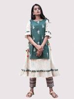 Mesmora Green & Off-White Printed Kurta with Pants Set (#MF1400)