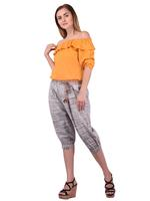 Mesmora Mustard Yellow Off-Shoulder Top & Grey 3/4th Pants Set (#MF2233 MUSTARD)