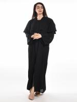 Moistreet Black Double Layered Abaya with Sheila (MOIA2059)