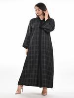 Moistreet Black & Grey Checked Abaya with Sheila (MOIA2061)
