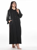 Moistreet Black Coat-Style Pocket Abaya with Sheila (MOIA2065)