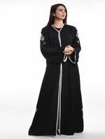 Moistreet Black Embroidered Abaya with Sheila (MOIA2077)