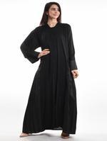 Moistreet Black Pleated Abaya with Sheila (MOIA2086)