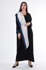Moistreet Black & White Contrast Embroidered Abaya (MOIS3053)