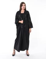 Moistreet Black Pleated Hand Sequin Embroidered Abaya (MOIS3073)