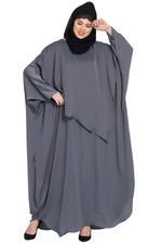 Nazneen Grey Extra Panel Nursing Mother Abaya (NHF41)