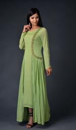 Plush Culture Green chinnon chiffon gown with attached jacket (RE_5)