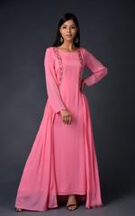 Plush Culture Pink chinnon chiffon gown with attached jacket (RE_6)