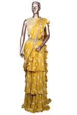 Bhumika Sharma Yellow Pre-Stitched Printed Ruffle Saree with Belt & Blouse (SAIBSSS1922) by Vesimi
