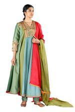 Latha Puttanna Green & Blue Silk Kurta Set  (SS18-28)