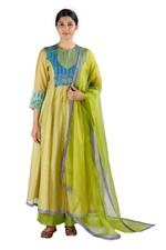 Latha Puttanna Light Green Chanderi Kurta with Palazzo & Dupatta (SS18-4)