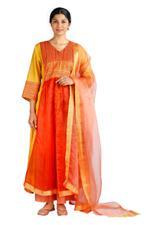 Latha Puttanna Orange & Yellow Chanderi Kurta Set (SS18-6)