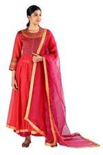 Latha Puttanna Red Embroidered Chanderi Kurta Set  (SS18-7)