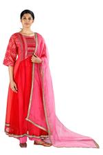 Latha Puttanna Red & Pink Chanderi Kurta Set (SS18-8)