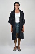 Indricka Black Mukesh Work Organic Cotton Long Shrug (STVS3104MQV_BLK)
