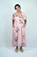 Indricka Pink Floral Print Wrap Dress (STVS3154PTD_ROSE)