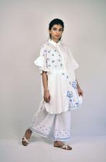 Indricka White Embroidered Frill Organic Cotton Long Shirt (STVS3157KR_WHT)
