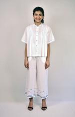 Indricka White Ankle Organic Cotton Palazzos (STVS3158GJ_WHT)